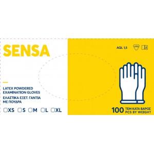 Γάντια εξεταστικά Latex με πούδρα Sensa eco -Medium-