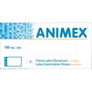 Γάντια εξεταστικά Latex με πούδρα Animex -Medium-