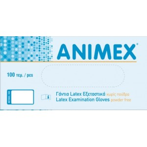 Γάντια εξεταστικά Latex χωρίς πούδρα Animex -Medium-